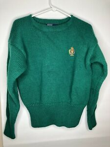 Vintage Mens Ralph Lauren Polo Green Thick Wool Sweater Varsity Cut Sz L EUC