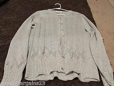 WOMENS ZIANI COUTURE SIZE LARGE SILVER SHINY BUTTON FRONT SWEATER EUC