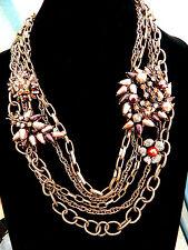 "St. John' s 5 Strand Bronze Tone Swarovski Crystals & Faux Pearl Necklace 24"""