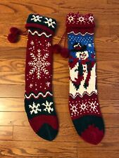 Lot 2 Christmas Stockings Set Crochet Handmade Knit Red Green Country Old World