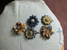 Beautiful Hair Jewelry Clip Set 5 Handmade Paper FlowersGold Faux Pearl 2 In WOW
