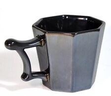 Starbucks Coffee Octagon Shape Mug Shiny Gray with Ornate Handle NEW 2013 14 Oz
