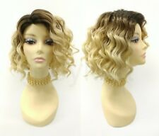 Blonde w/ Dark Brown Roots Short Curly Lob Wig Side Part Heat Resistant 9""