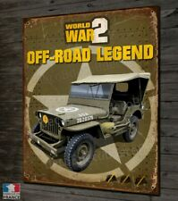 "Plaque métal déco 30x20cm Jeep World War 2 ""off-road legend"" Willys Ford US Army"