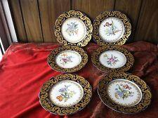 JP Pouyat Limoges France Cobalt Encrusted Gold Dresden Flowers 6 Cabinet Plates