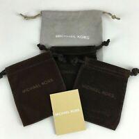 New Michael Kors Jewelry Watch Bag Lot 4 Brown Gray Velvet Drawstring Pouch Gift
