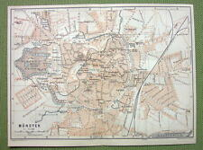 GERMANY Munster City Plan Railroads - 1904 MAP ORIGINAL Baedeker