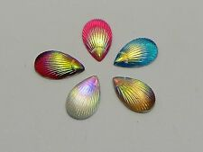 100 Mixed Color With AB Shell Acrylic Flatback Teardrop Cabochons 7X13mm