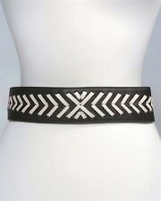 B-Low The Belt Black and White Leather Stretch Belt, SIZE M/L, Made in USA