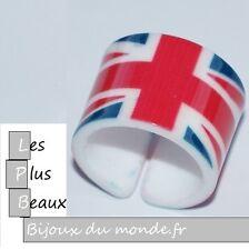 Bague ANNEAU LARGE LONDRES LONDON UNION JACK UK BIJOUX Plastique NEUF