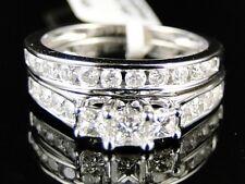 10k Oro Blanco Diamante Talla Princesa Aniversario Compromiso 3 Piedra Dúo