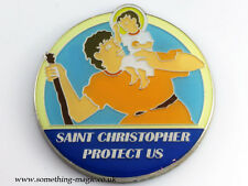 Enamel ST Saint CHRISTOPHER Protect Us Car or Motorbike Badge