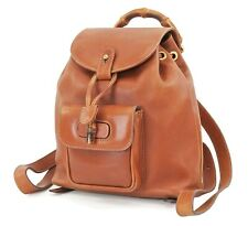 Authentic GUCCI Brown Leather and Bamboo Handle Mini Backpack Bag #37006