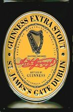 Guinness Label Irish Bottle Beer Drink Pub Bar Inn Medium 3D Metal Embossed Sign