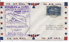 December 6 1931 Ffc First Flight Cover - Nuevitas Camaguey Miami to Us