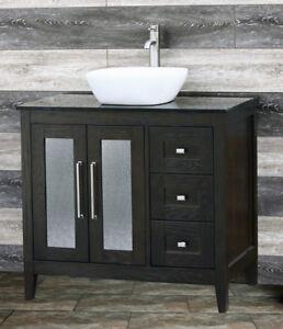 "36"" Bathroom Vanity 36-inch Cabinet Black Granite top Vessel Sink Faucet A36E-bk"