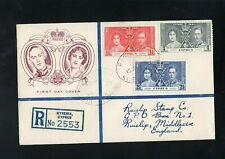 CYPRUS - 1937 - KG VI - CORONATION - REGISTERED - FIRST DAY COVER - KYRENIA CDS