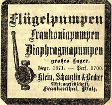 Klein, Schanzlin & Becker AG Frankenthal PUMPEN  Historische Reklame von 1918