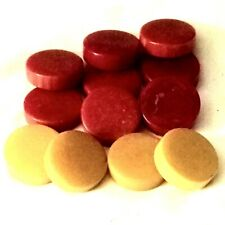 Vintage Deep Red (8) And (4) Butterscotch Bakelite Poker Chip
