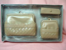 Clutch , Coin Purse, and Lipstick Case in Tan imitation leather