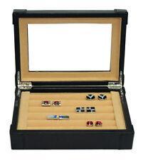 Hand Made Leather Glass Luxury Case Cufflinks Ring Tie clip Storage Display Box