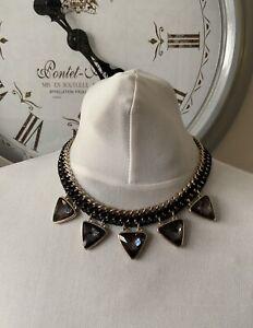 Gold Tone Interweaved Black Ribbon Choker Triangle Drop Bead Necklace Goth Punk