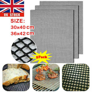 5X BBQ Grill Mesh Non-Stick Mat Reusable Sheet Resistant Cooking Baking Barbecue
