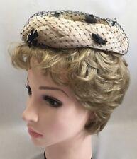 Vintage 1950s Ladies Womens Halo Pillbox Hat Headpiece beige w/ black veil 2812