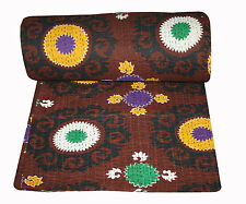 Hand Made Kantha Quilt Reversible Kantha Bed Cover Cotton Blanker Throw Decor