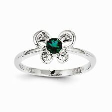 Sterling Silver Created Emerald Ring Size 10 QBR24MAY-10 W15099