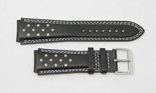 TechnoMarine 20MM Genuine Leather Watch Strap Band BLACK with GOLD Dots - 7614