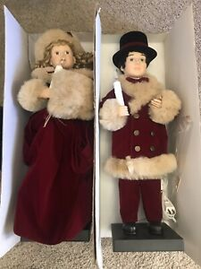 """1990s Traditions Animated 27"""" Victorian Couple Christmas Figures Lighted Decor"""
