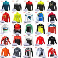 Winter Thermal Fleece Cycling Jersey Mens Long Sleeve Bike Shirt Bicycle Uniform