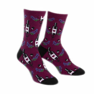 Sock It To Me Women's Wine Crew Socks Bottle Grapes Glasses Shoe Size 5-10