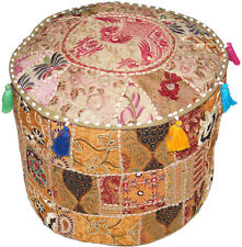 """18""""Ethnic Patchwork Cotton Pouf Cover Indian Handmade Round Beige Ottoman Cover"""