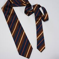 Brioni Striped Tie Regimental HEAVY LUXE Navy Mocha 100% Silk Tie Made in Italy