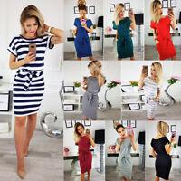 Women Short Sleeve Striped Party Bandage Bodycon Casual Beach T-shirt Midi Dress
