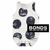 BONDS GIRLS BABY ROMPER SINGLETSUIT GOLD WHITE CHARCOAL BODYSUIT SIZE 000 - 2