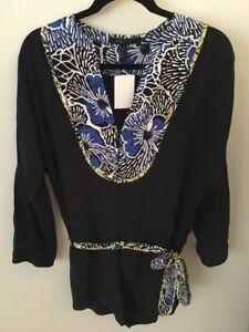 BCBG Max Azria Black Multi-Color Floral Neckline Tunic Romper Size Small