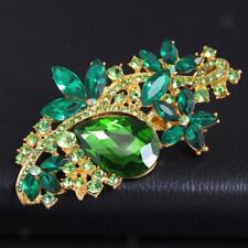 Fashion Bride Rose Broches Bouquet de mariage en strass vert plaqué or