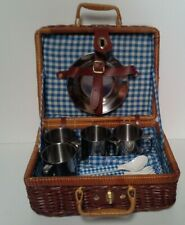 vintage Childs wicker picnic basket w/dishes, utensil, napkins, table cloth