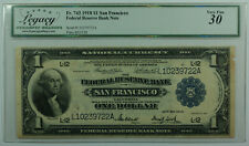 1918 One Dollar $1 San Francisco National Currency Bank Note Fr 743 Legacy VF-30