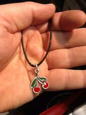 PENDANT ASTRAL PEWTER RED CHERRIES COLOURED PENDANT NECKLACE HAND CRAFTED UK NEW