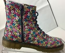 'Dr Martens' Style Ladies / Girls Floral Ankle Boots Size 3 UK