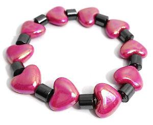 1pc Charm Hibiscus Red Love Heart & Metallic Tube Plastic Elastic Bracelet Gift