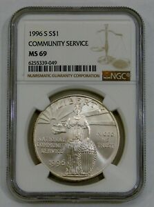 1996 S - Community Service Commemorative Silver Dollar - NGC MS 69