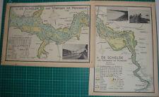 2 Old maps river Schelde - Antwerpen Hansweerd Vlissingen rivier 1939 kaart map