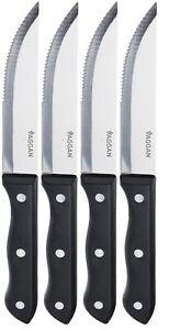 Set of 4 Brazilian Style Jumbo Steak Knives Black Wooden Handles Serrated Steak