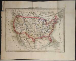 UNITED STATES 1858 FRANCESCO MARMOCCHI ANTIQUE ORIGINAL COLORED LITHOGRAPHIC MAP