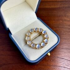 20Ctw Cabochon Pin / Brooch Large 14K Yellow Gold 12 Moonstone